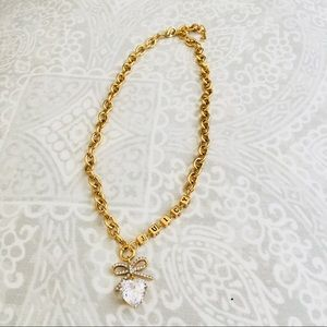 Juicy couture crystal heart bow necklace